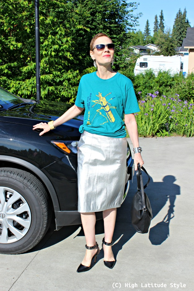 fashion over 40 woman in silver leather skirt
