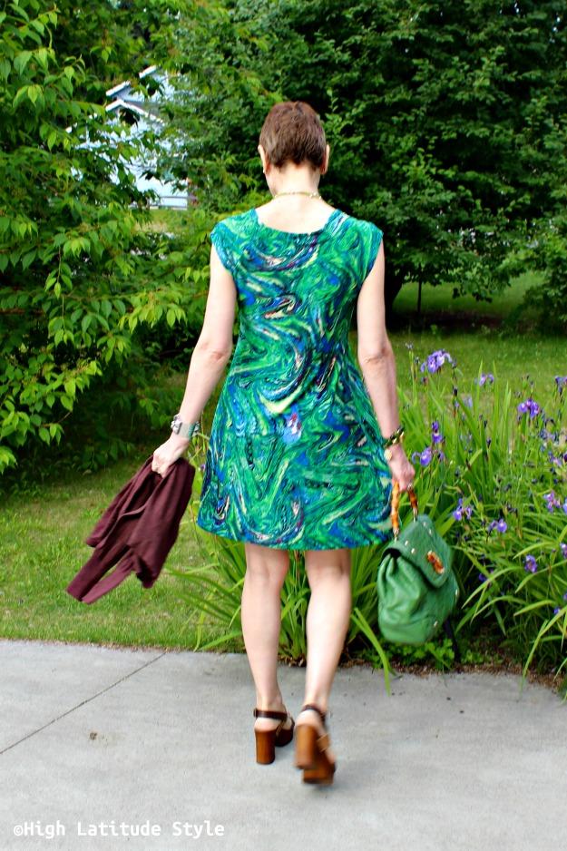 midlife woman in posh print dress