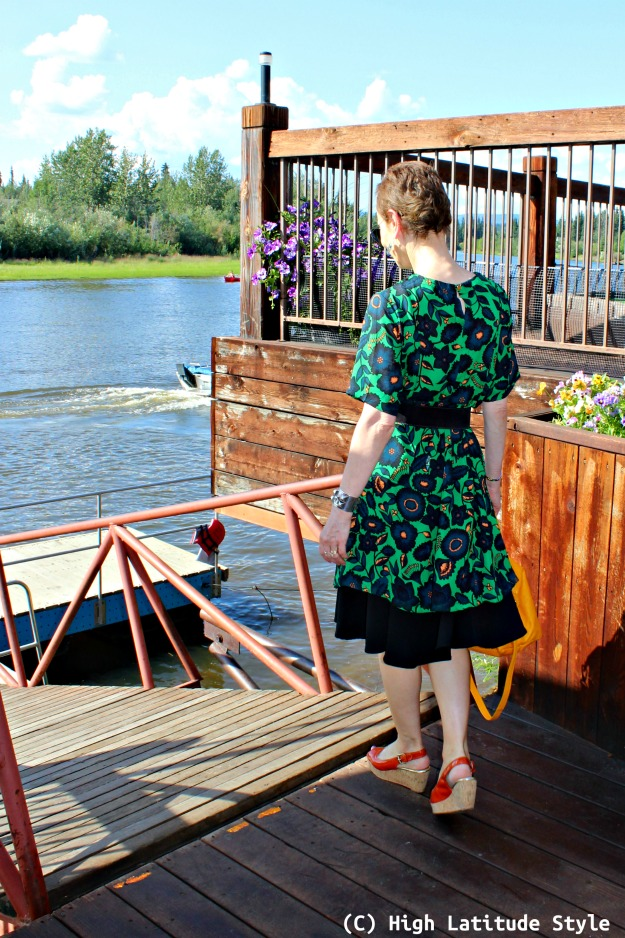 Alaskan midlife fashion blogger wearing a dress over a skirt