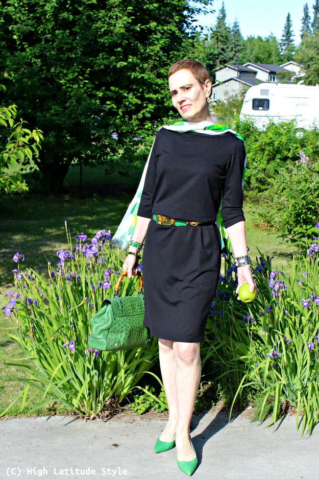 fashion over 40 woman in LBD with green