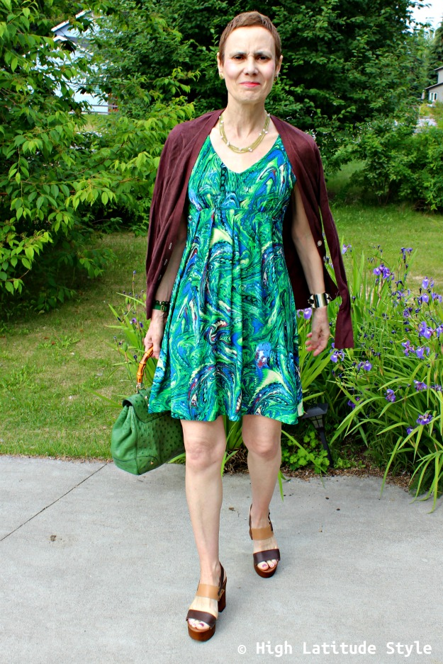 fashion over 40 woman in dress with cardigan