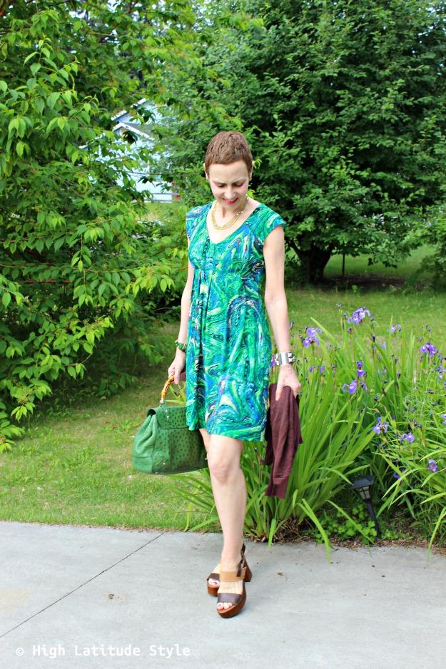 #fashionover50 woman in green print dress