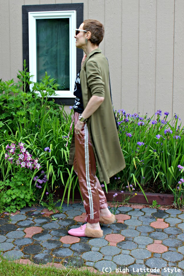 fashion over 40 woman in joggers and coat