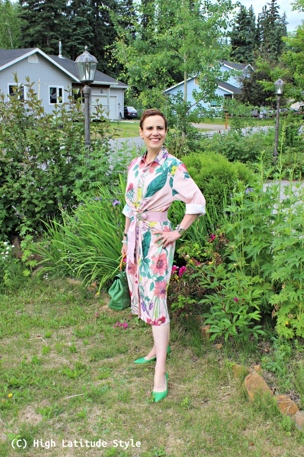 fashion over 40 woman in summer shirt dress