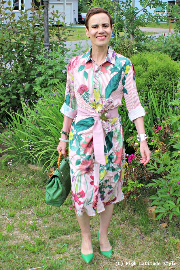 mature style woman in summer floral dress with stripes