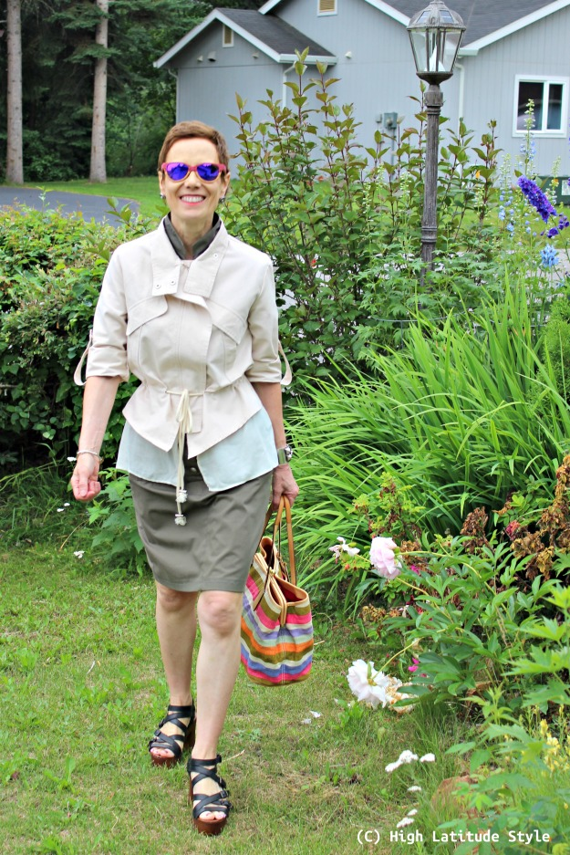 fashion over 50 woman in urban safari look