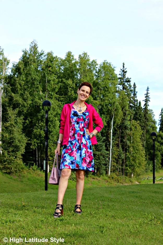 mature woman in print dress and Adidas jacket