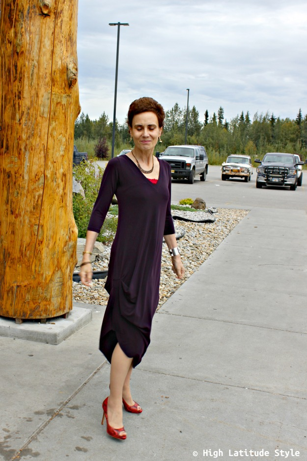 #advancedstyle woman in drape dress