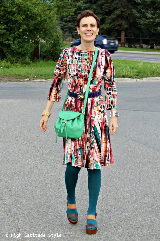 #fashionove 50 woman in colorful fit-and-flare