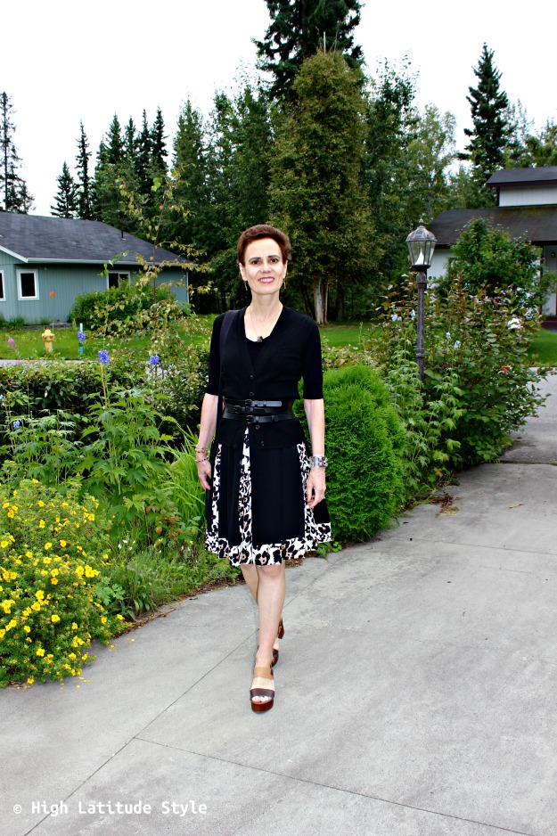 style over 40 woman in leopard print dress