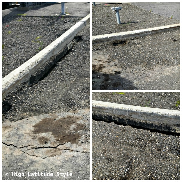 Permafrost damage in a parking lot