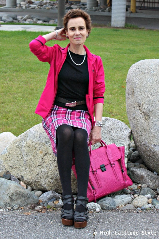 #falltrends #fashionover40 midlife woman looking posh in the plaid trend