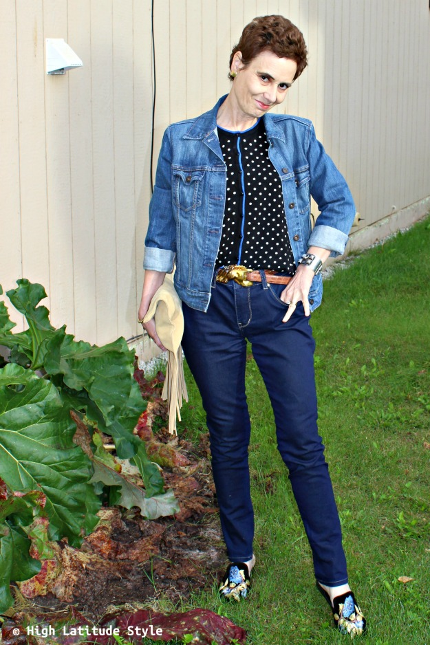fashionista wearing three fall must-haves fringe, polka dots and embroidery in one outfit