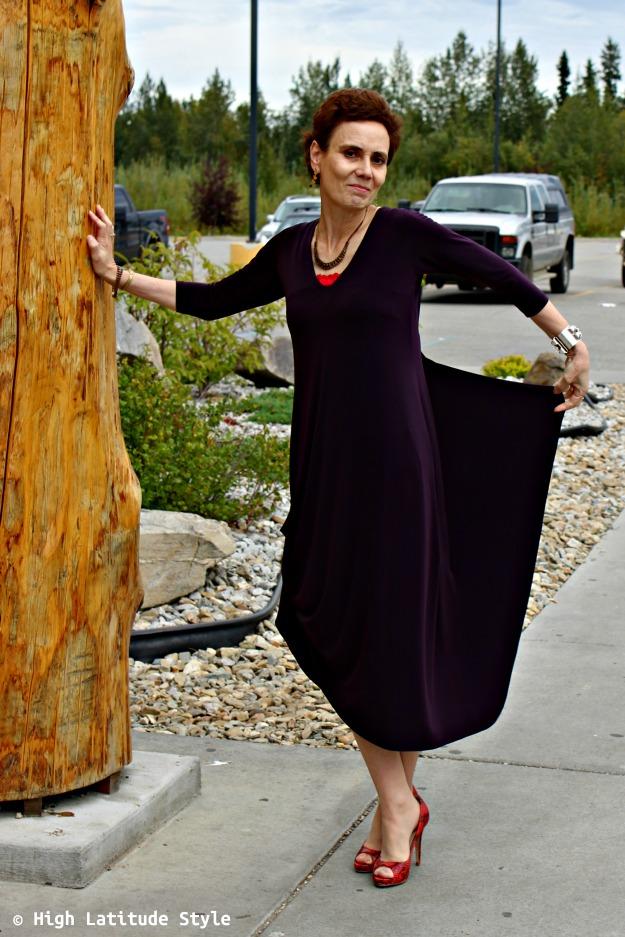 #fashionover40 woman in drama dress