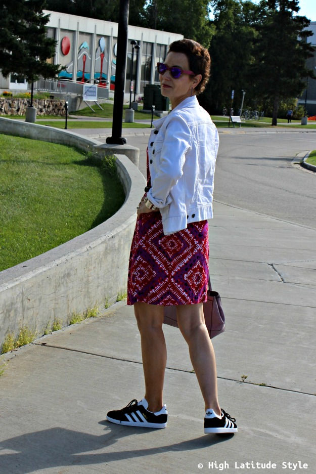 #styleover50 woman in casual summer to fall transition look