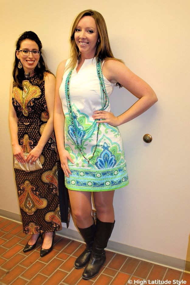 #ethnicclothes young women modeling ethnic print dresses from the 60s