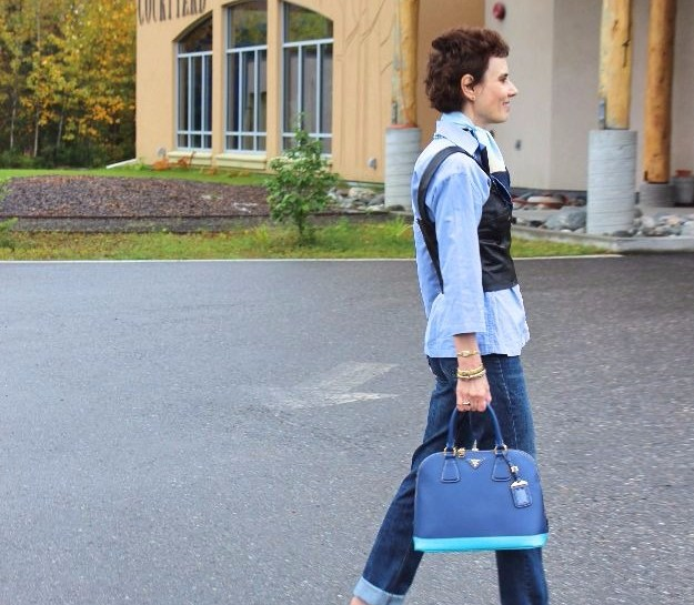 midlife woman in posh casual blue-black look