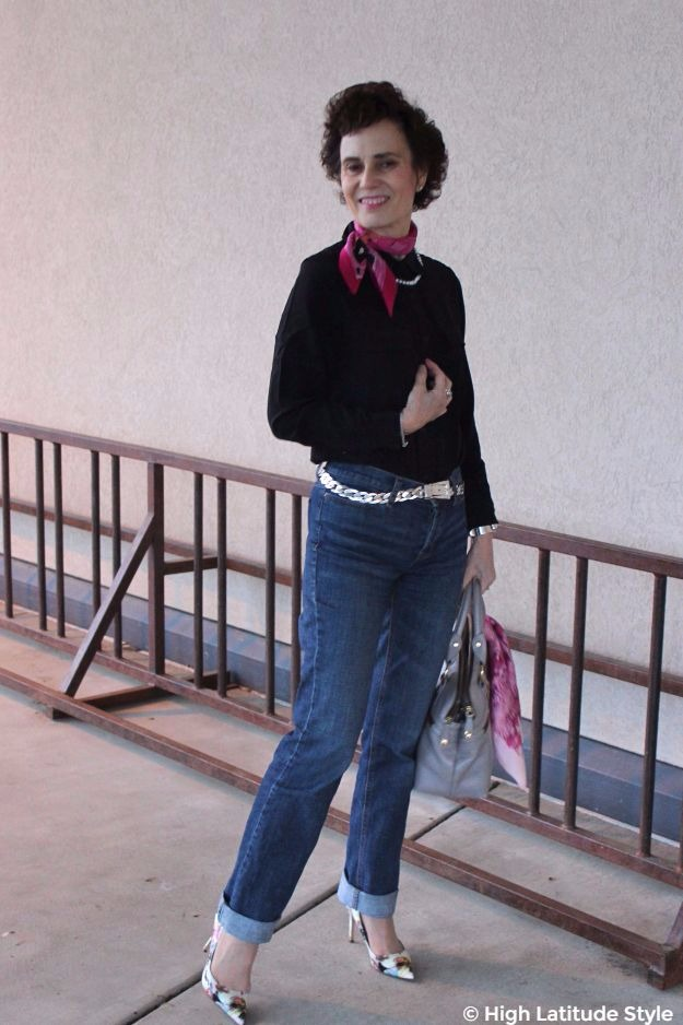 midlife woman in weekend outfit with pumps and Lilysilk top