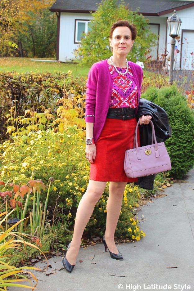 midlife woman wearing a dress as skirt