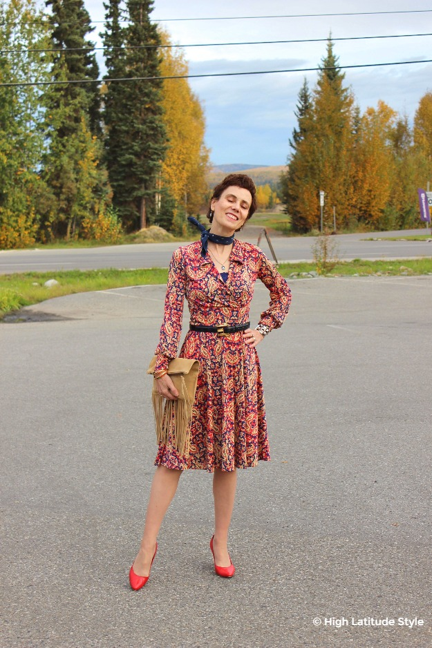 mature blogger in fall office outfit with dress