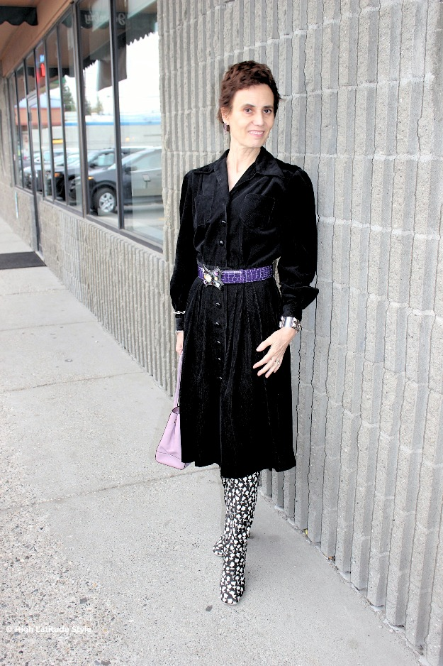 #midlifestyle older woman looking posh chic  in a retro corduroy dress