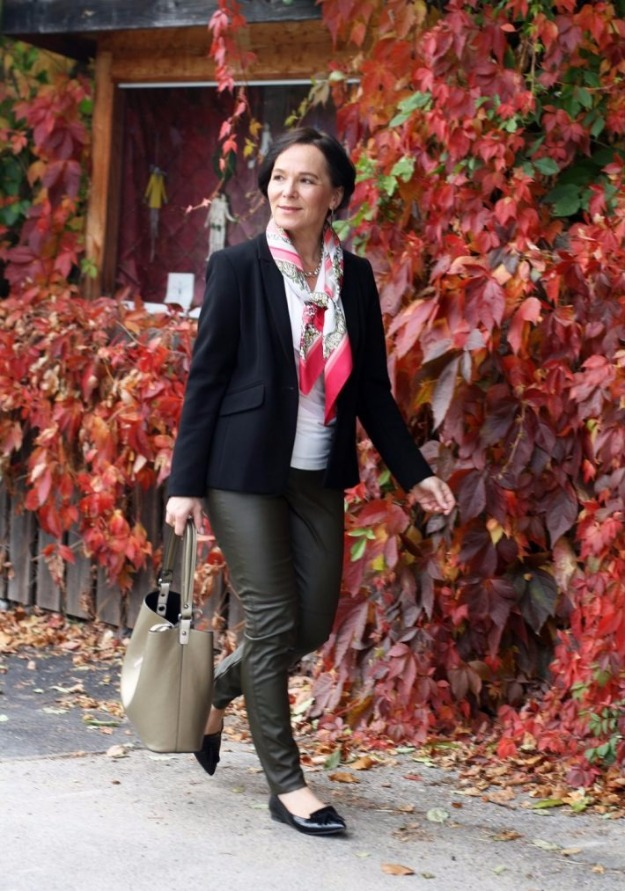lady of style in leather leggings and blazer