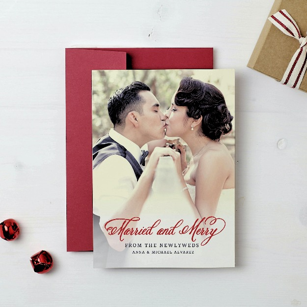 Basic Invite Married and Merry Christmas wedding card