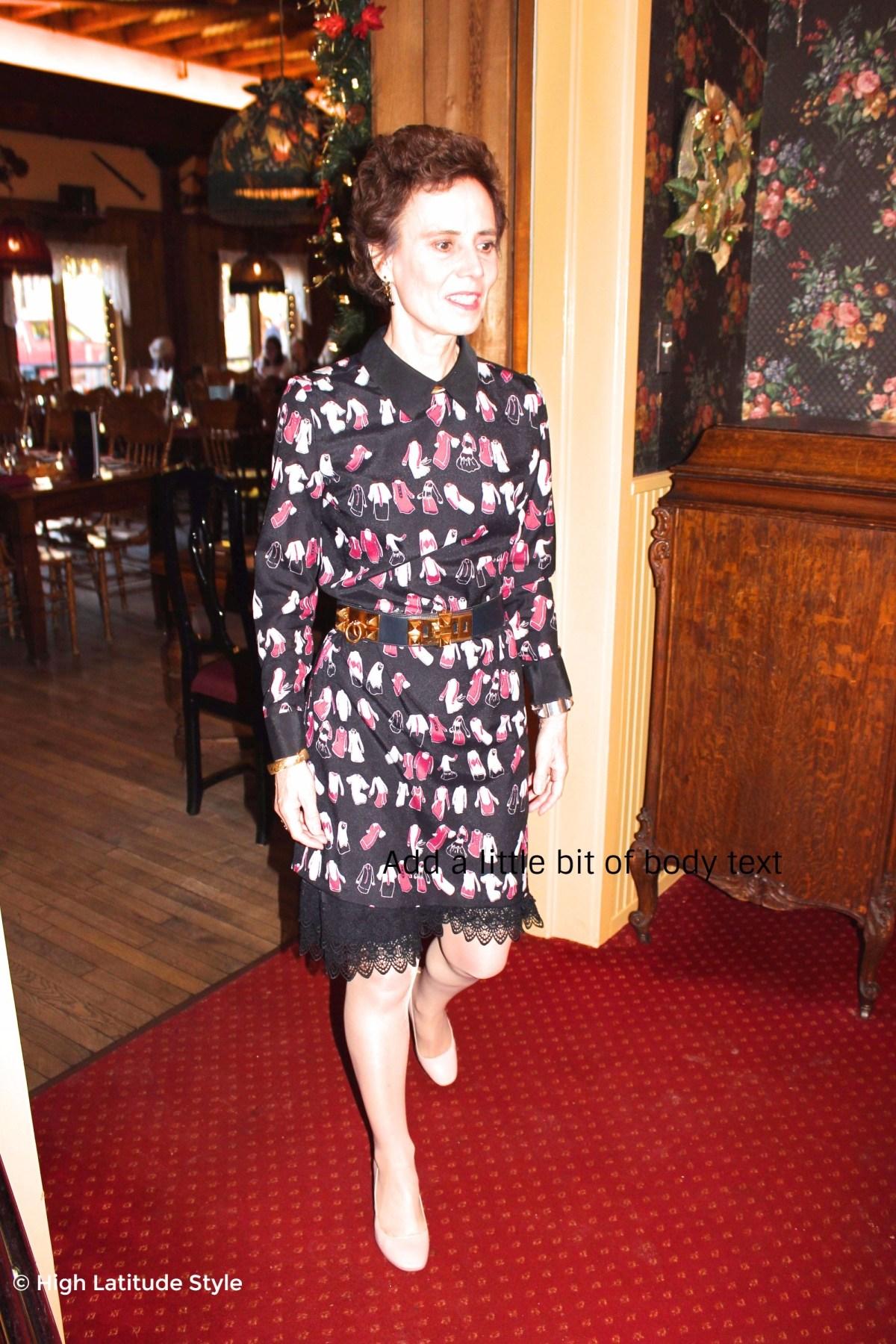 stylist in a posh Victoria Victoria Beckham dress