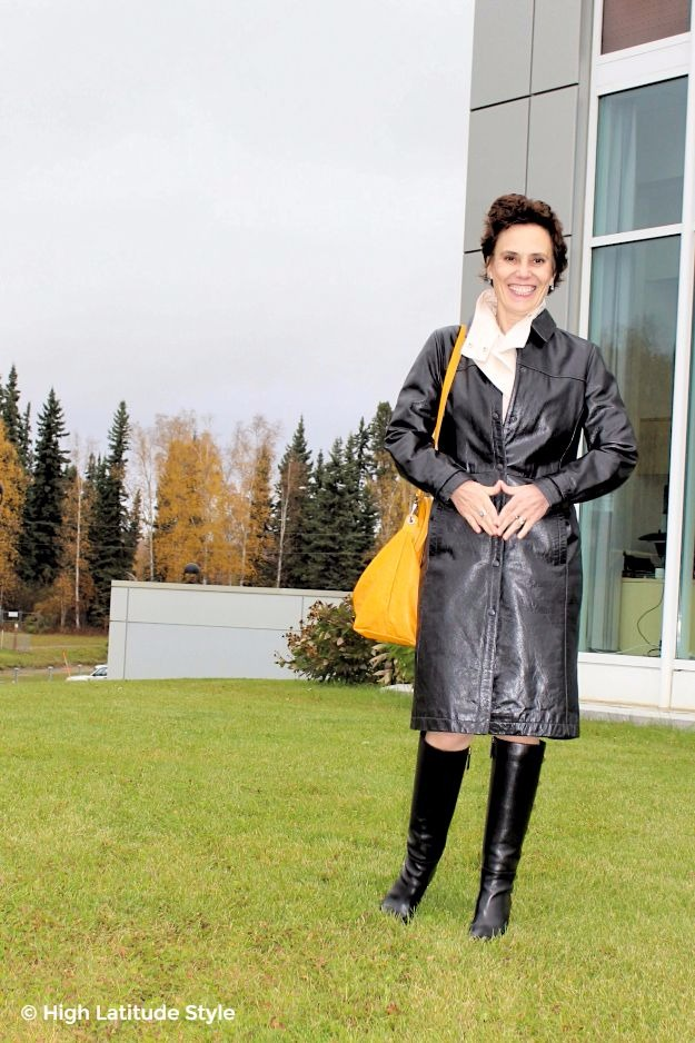 #fashionover50 posh chic midlife woman in leather trench coat