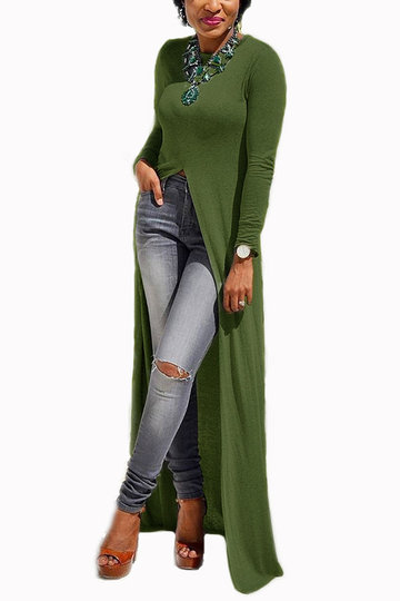 Yoins Army green round neck long sleeve slit hem maxi dress