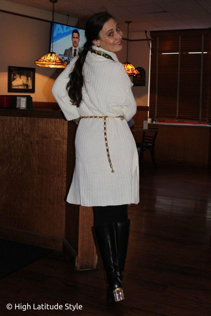 stylist in winterwhite comfy posh casual knit sweater dress