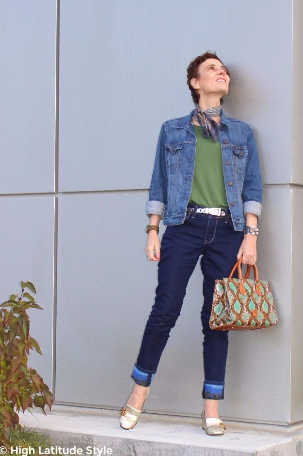 #maturefashion woman in denim on denim with green T-shirt
