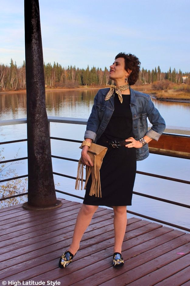 #advancedstyle mature woman in LBD with denim jacket for brunch look
