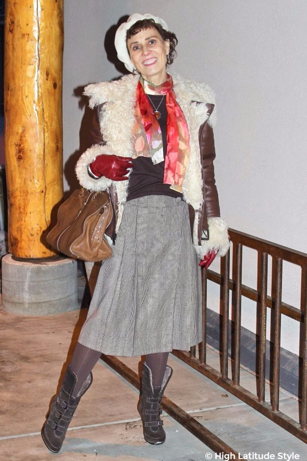 #midlifestyle Posh chic midlife woman in winter outerwear with colorful scarf