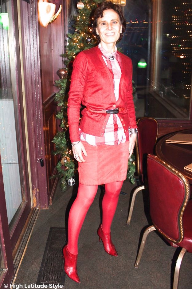 mature woman in red work outfit