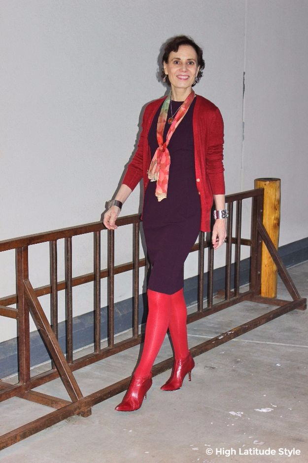 midlife blogger Nicole in fall office outfit with gifted scarf, cardigan, and sheath