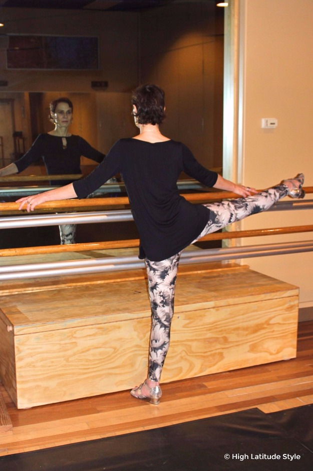 #midlifefashion woman working out at a dance studio