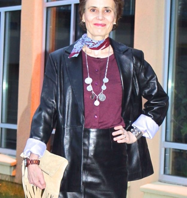 midlife lady in posh chic leather look