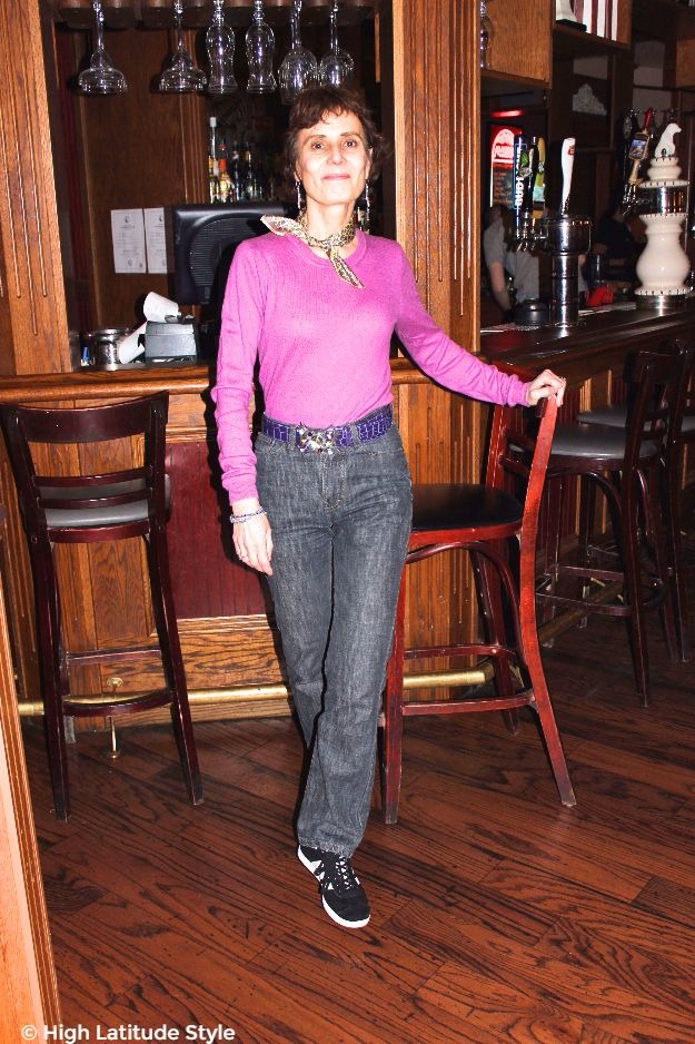 #midlifestyle #fashionover40 woman looking posh casual in sweater and jeans