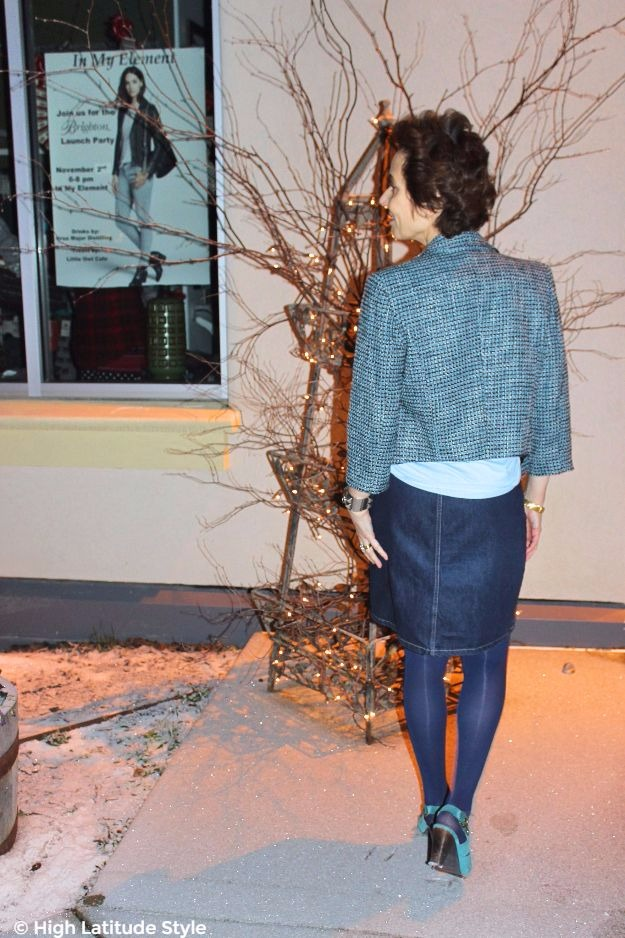 #midlifefashion style blogger over 50 in chic Casual Friday look in denim and tweed