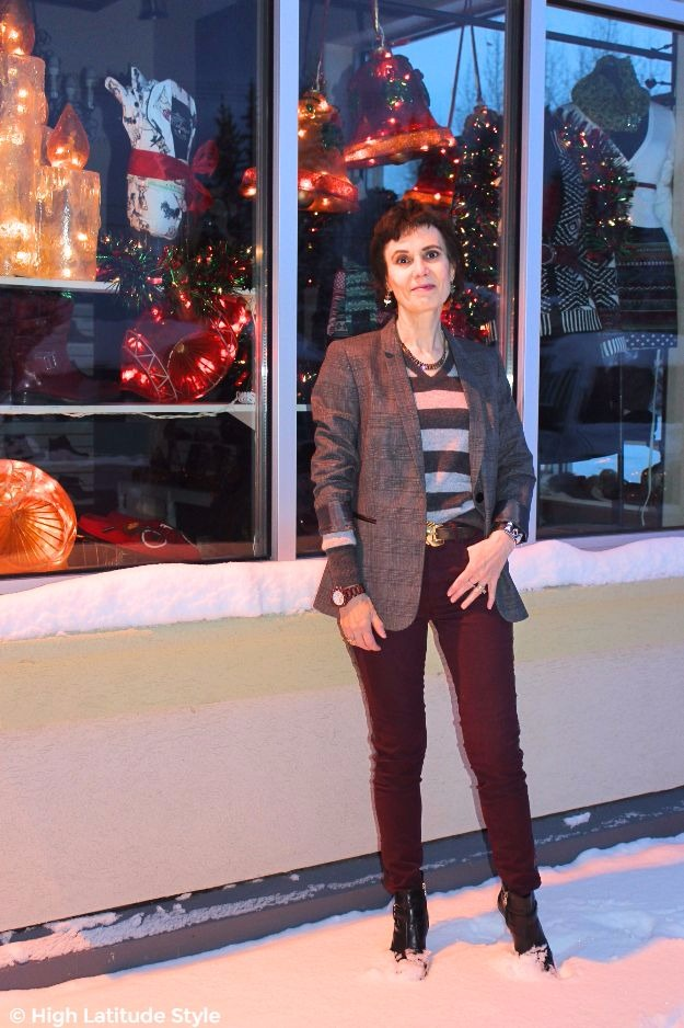 #fashionover40 #midlifestyle woman in glen check blazer, striped sweater and color jeans