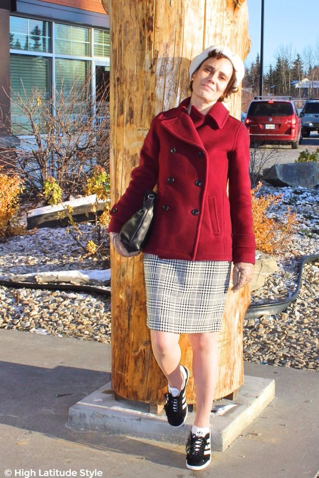 #midlifestyle woman in pea-coat with skirt