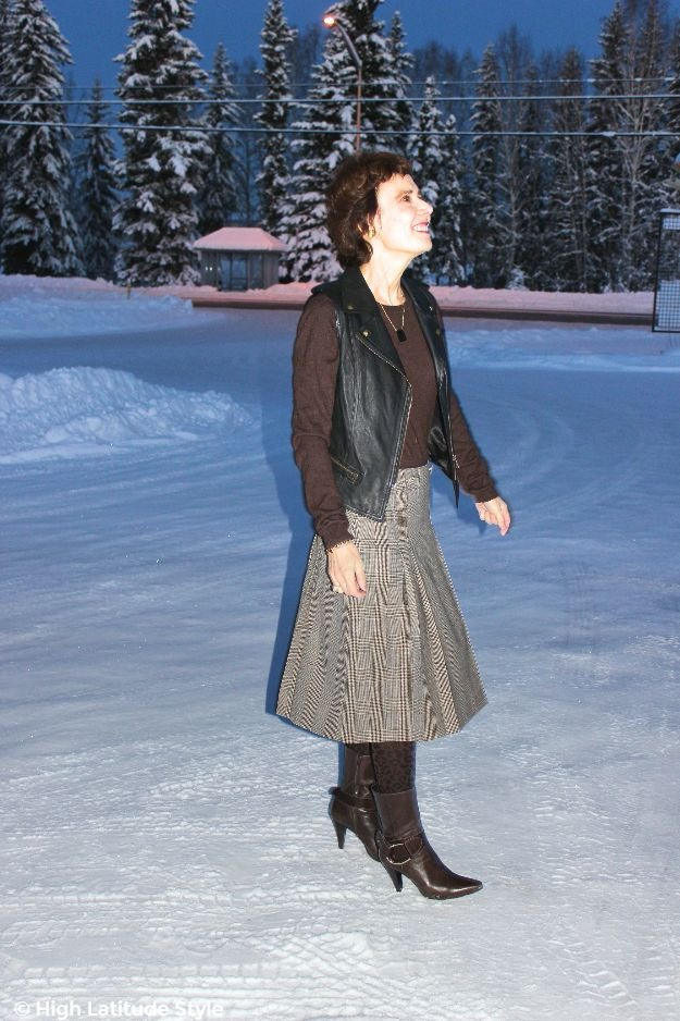 #fashionover40 woman in work outfit with a Pendleton pleated skirt