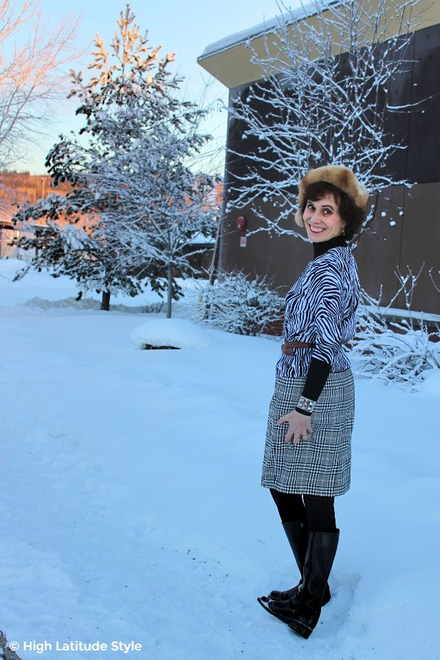 #fashionover50 woman in business casual hounds-tooth with zebra print office outfit