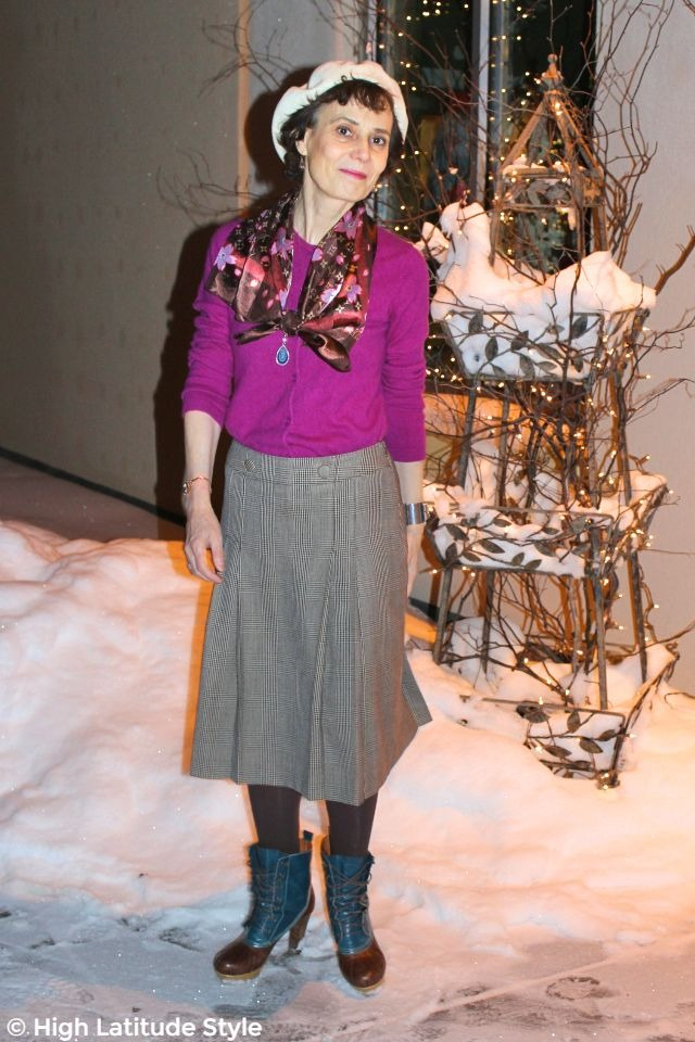 #fashionover50 woman in posh winter outfit with wool skirt, beret and scarf