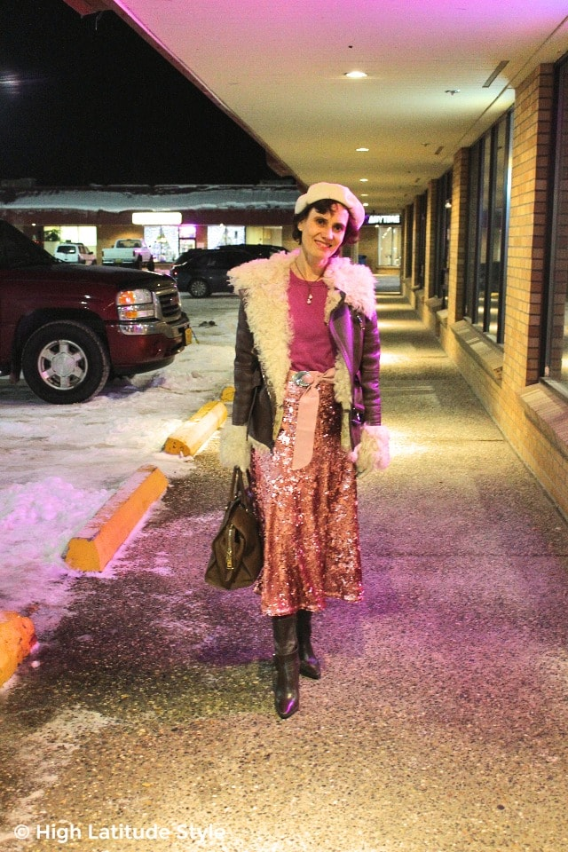 #fashionover50 mature woman with sequin skirt and shearling jacket