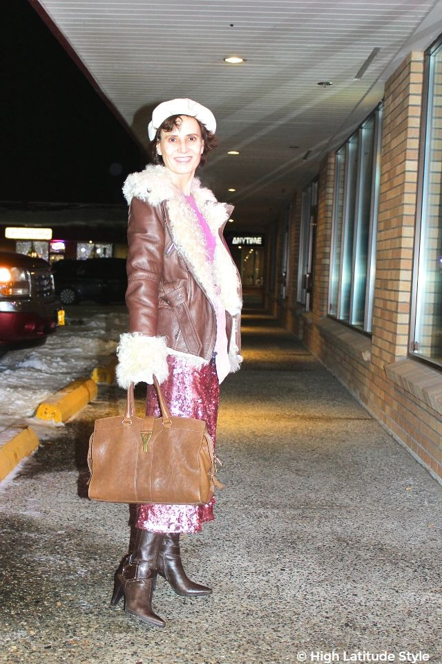 #styleover50 woman in date night after work winter outfit