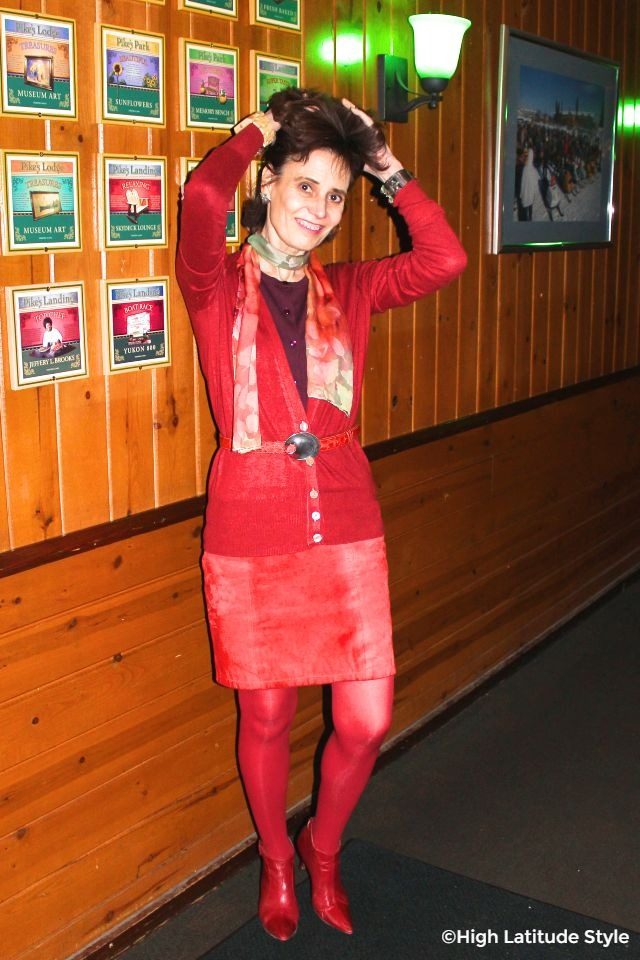 #advancedstyle mature woman in monochromatic red Valentine's Day outfit suitable for dinner at a casual restaurant