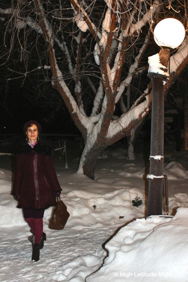 #midlifestyle #fashionover50 woman in tailored coat on winter walk