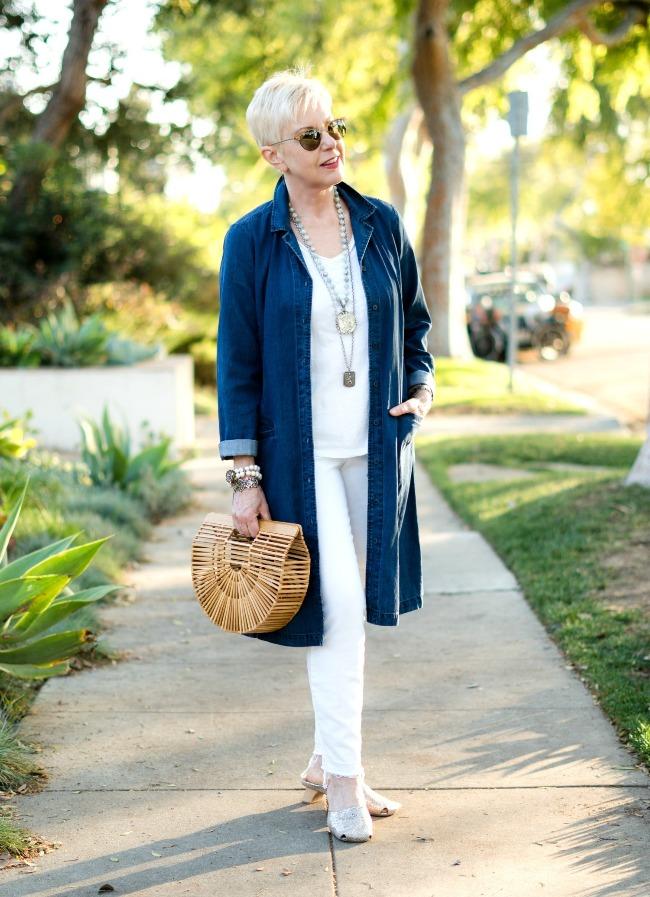 #fashionover50 Susan B. at un femme d'un certain age in a denim duster outfit